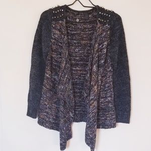 BKE • Draped Front Cardigan with studs